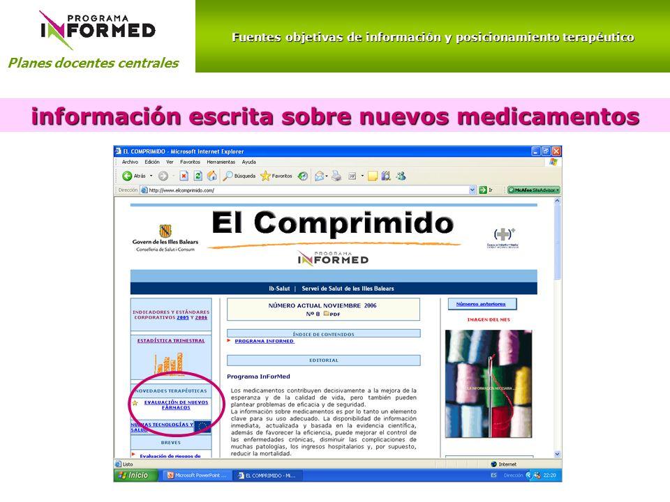 información escrita sobre nuevos medicamentos
