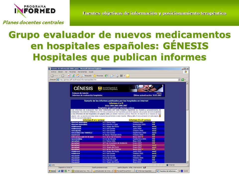 Hospitales que publican informes