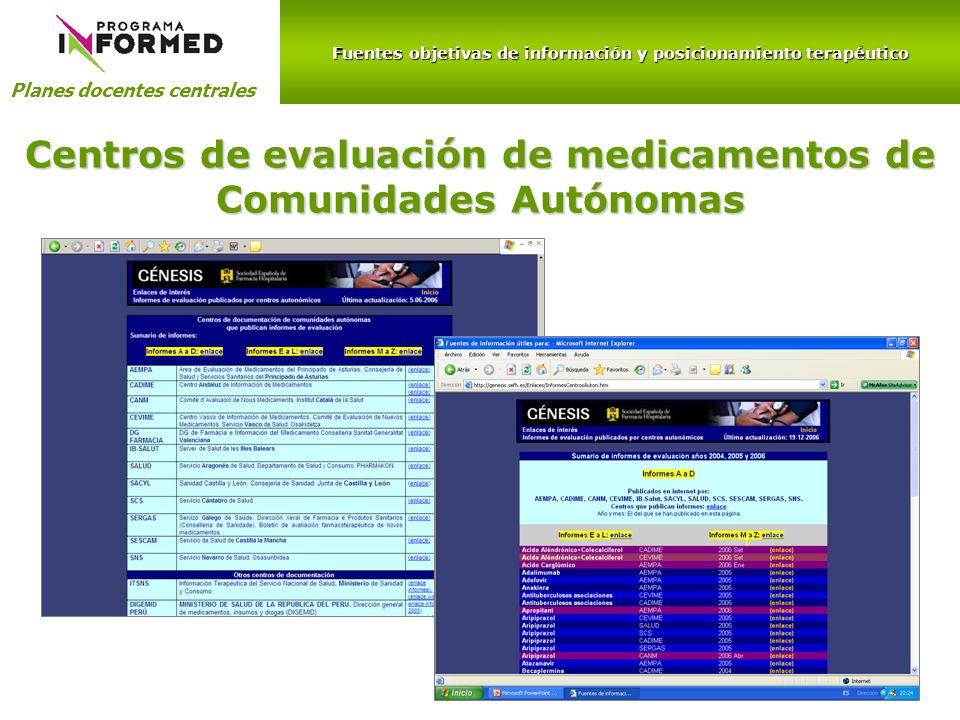 Centros de evaluación de medicamentos de Comunidades Autónomas