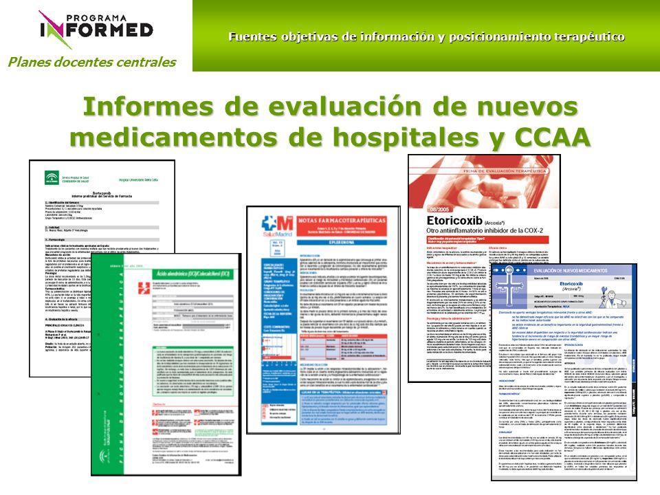Informes de evaluación de nuevos medicamentos de hospitales y CCAA