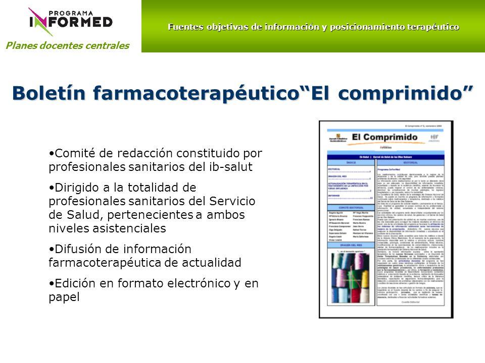 Boletín farmacoterapéutico El comprimido