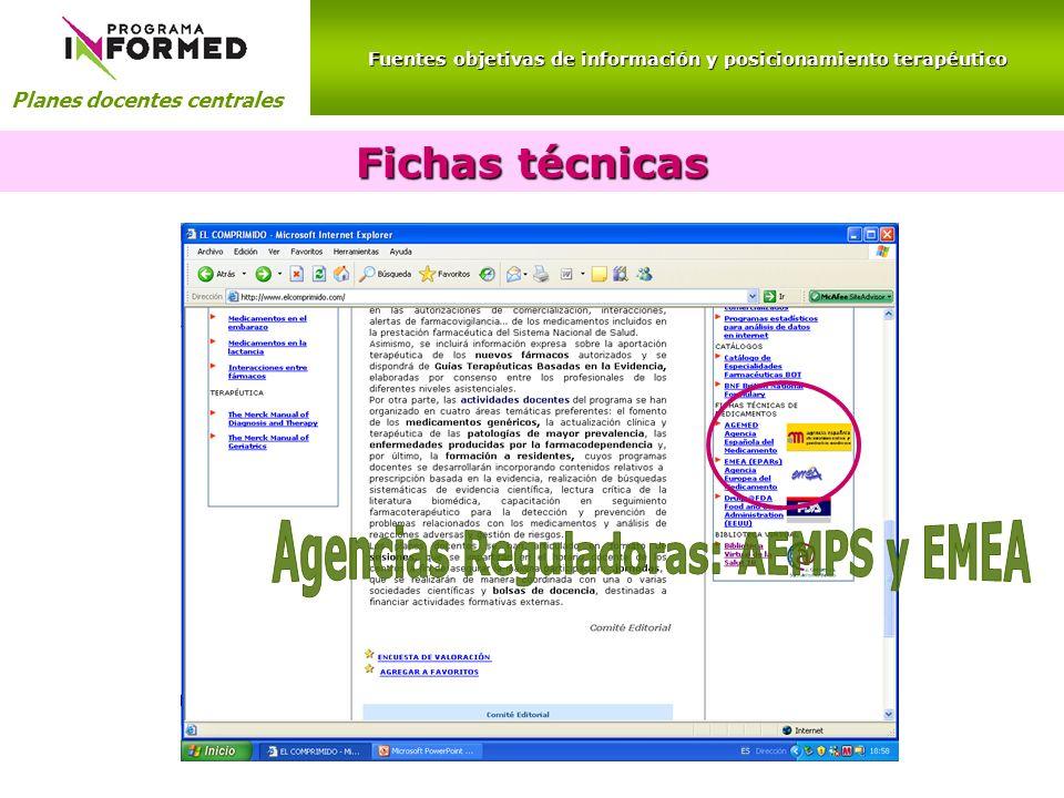 Fichas técnicas Agencias Reguladoras: AEMPS y EMEA