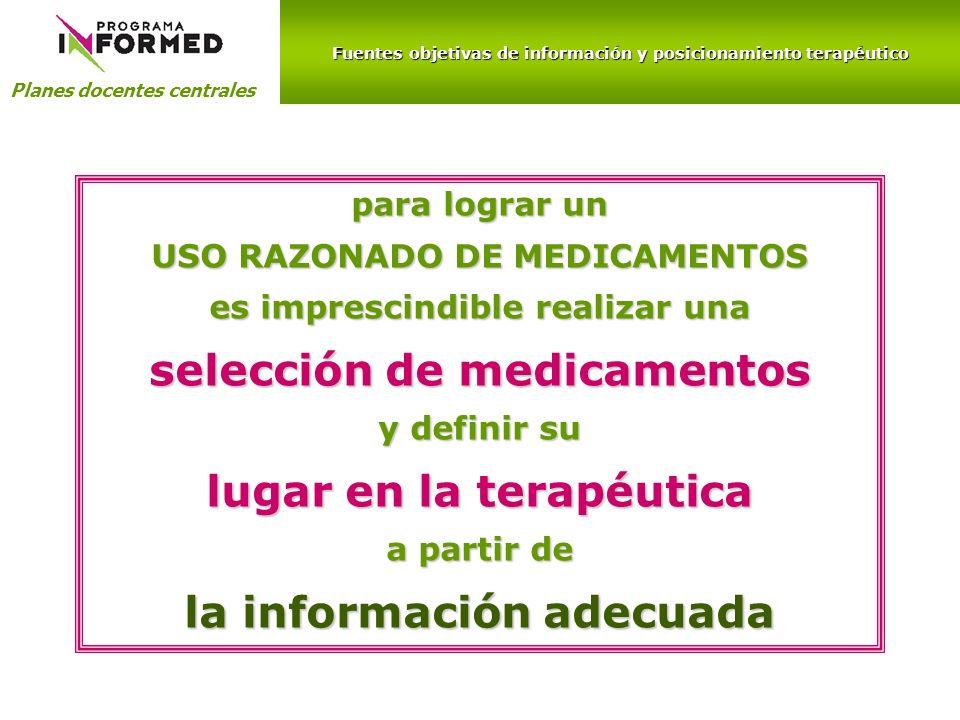 selección de medicamentos lugar en la terapéutica