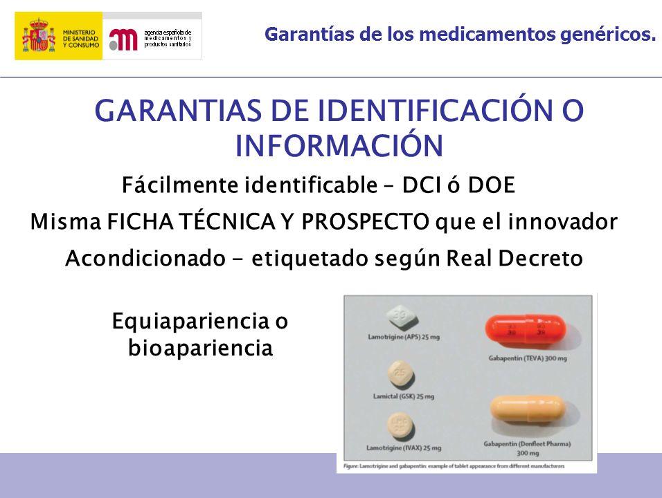 GARANTIAS DE IDENTIFICACIÓN O INFORMACIÓN