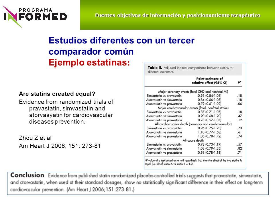 Estudios diferentes con un tercer comparador común Ejemplo estatinas: