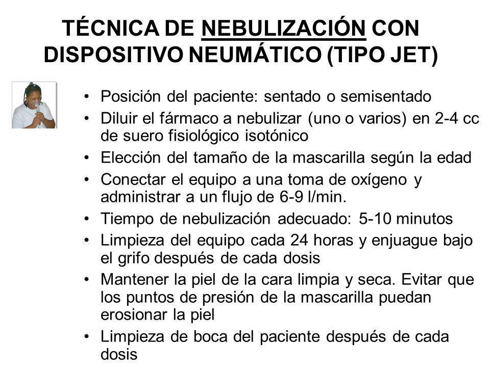 TÉCNICA DE NEBULIZACIÓN CON DISPOSITIVO NEUMÁTICO (TIPO JET)