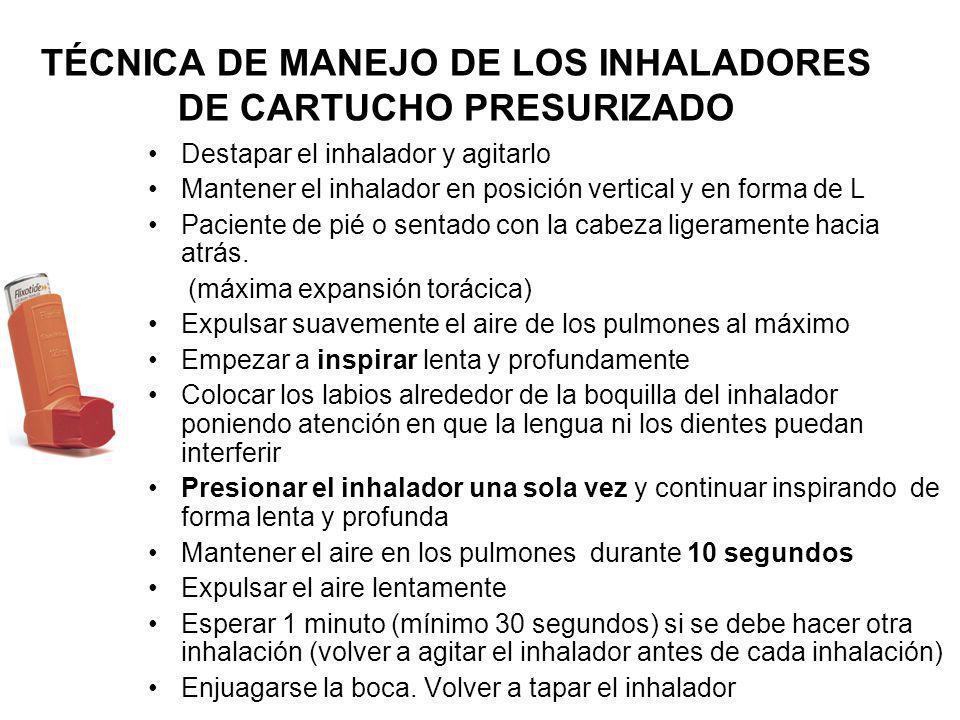 TÉCNICA DE MANEJO DE LOS INHALADORES DE CARTUCHO PRESURIZADO