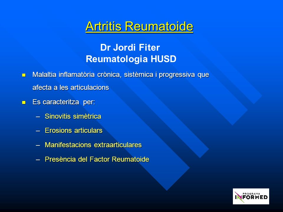 Artritis Reumatoide Dr Jordi Fiter Reumatologia HUSD