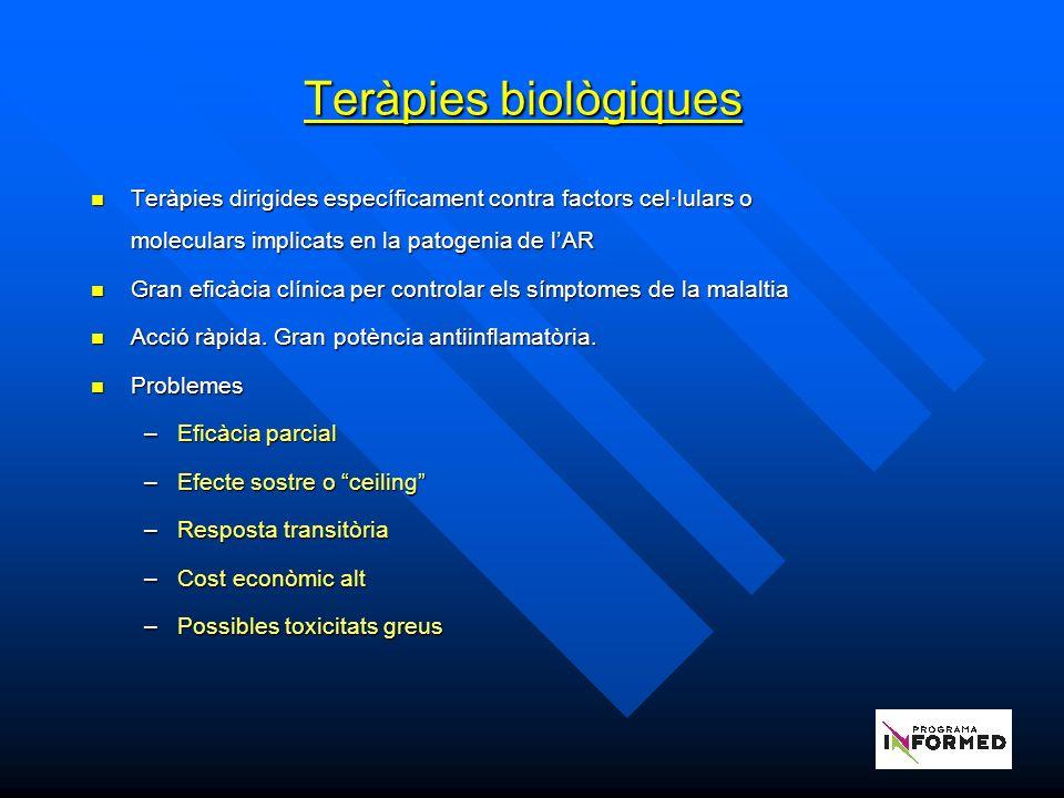 Teràpies biològiques Teràpies dirigides específicament contra factors cel·lulars o moleculars implicats en la patogenia de l'AR.