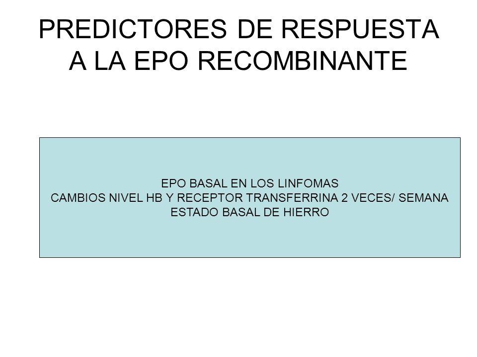 PREDICTORES DE RESPUESTA A LA EPO RECOMBINANTE