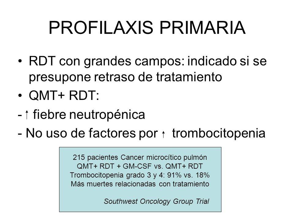 PROFILAXIS PRIMARIA RDT con grandes campos: indicado si se presupone retraso de tratamiento. QMT+ RDT:
