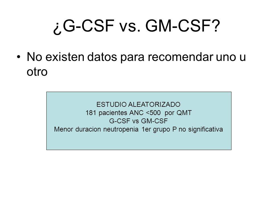 ¿G-CSF vs. GM-CSF No existen datos para recomendar uno u otro