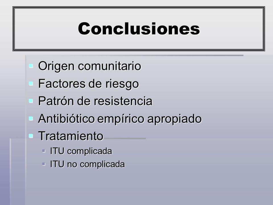 Conclusiones Origen comunitario Factores de riesgo