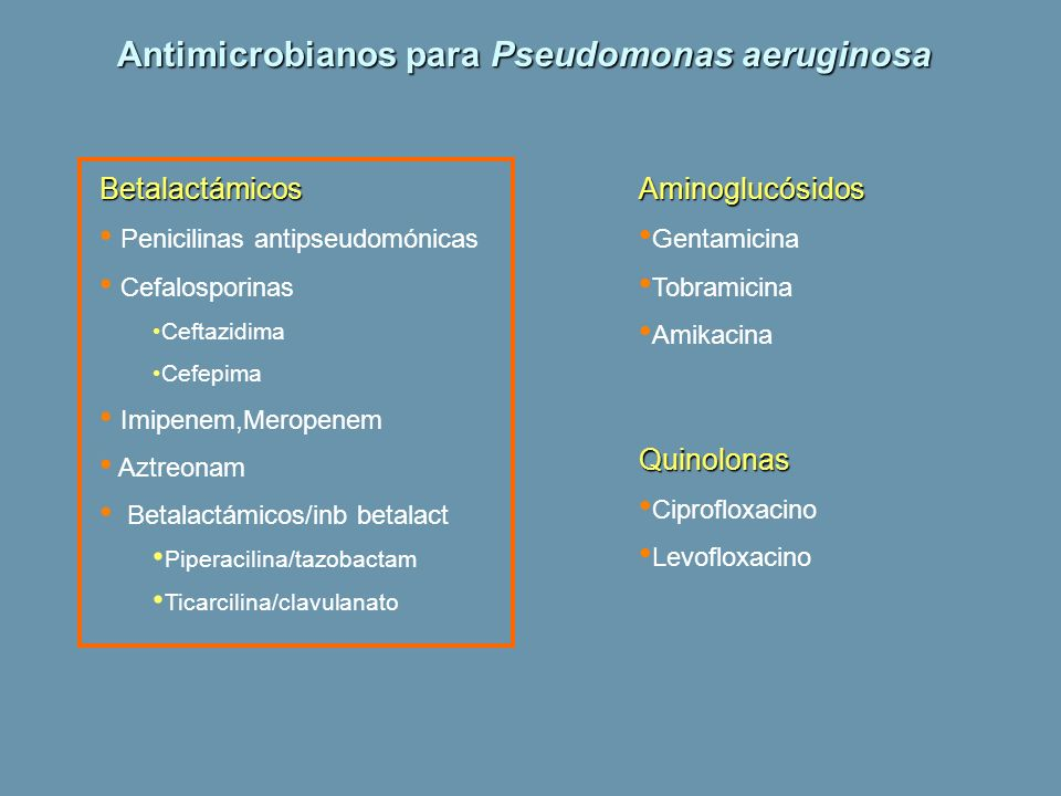 Antimicrobianos para Pseudomonas aeruginosa