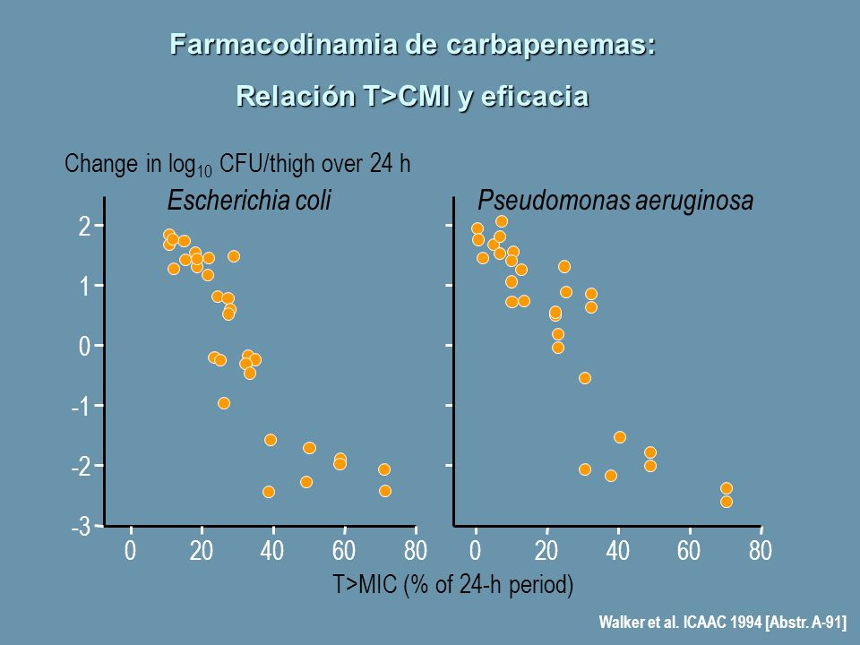 Farmacodinamia de carbapenemas: Relación T>CMI y eficacia