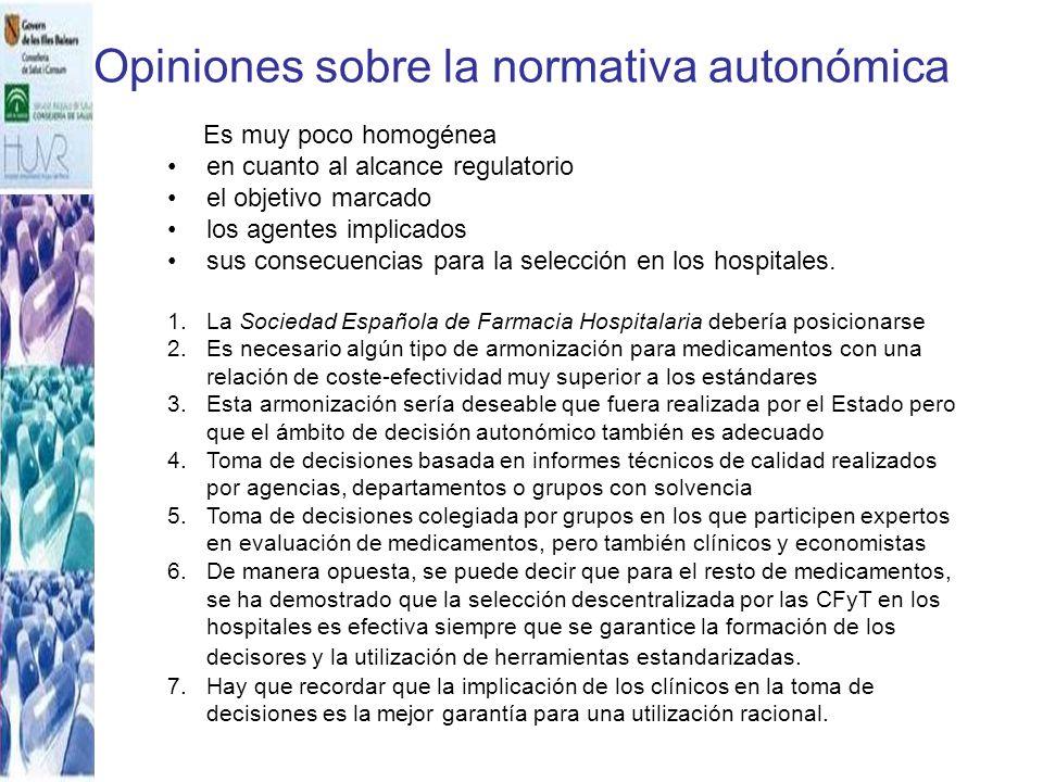 Opiniones sobre la normativa autonómica