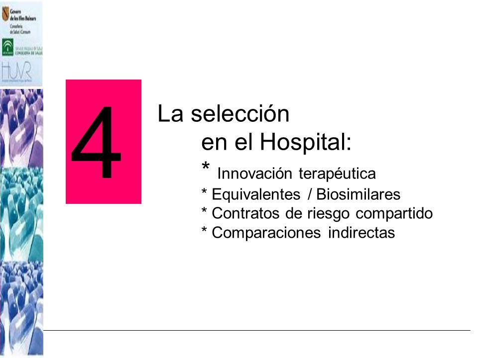 4La selección en el Hospital: * Innovación terapéutica * Equivalentes / Biosimilares * Contratos de riesgo compartido * Comparaciones indirectas.