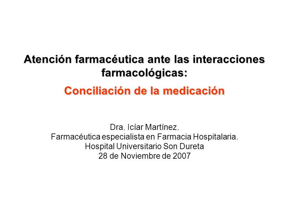 Atención farmacéutica ante las interacciones farmacológicas: Conciliación de la medicación