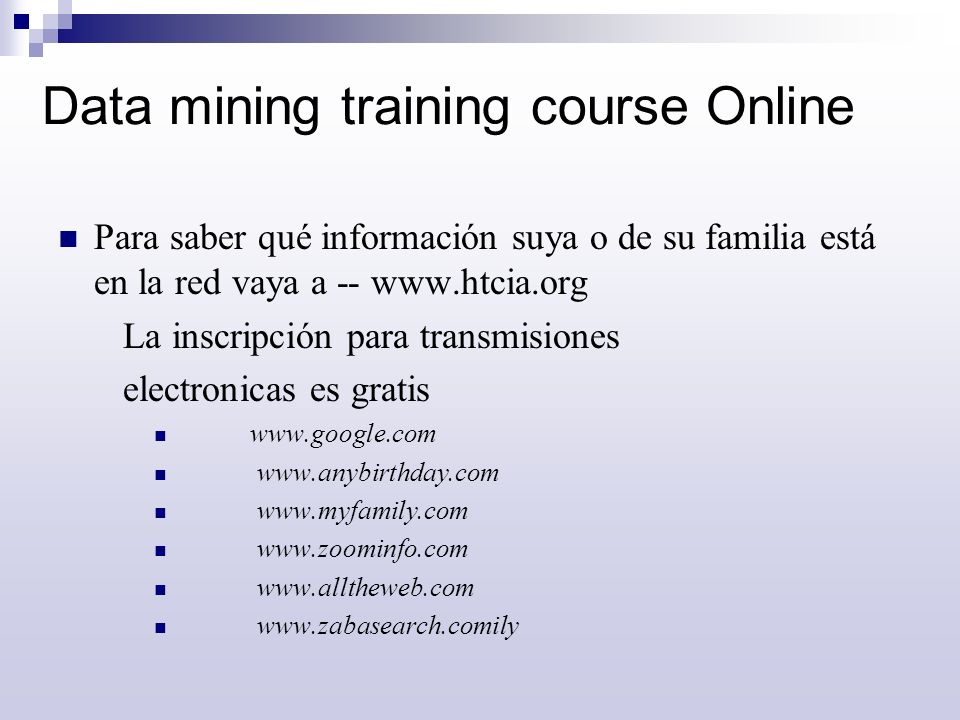 Data mining training course Online