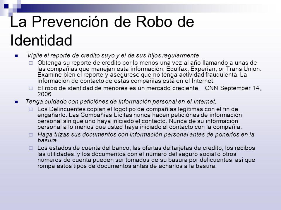La Prevención de Robo de Identidad