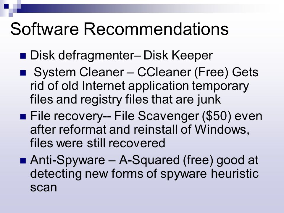 Software Recommendations