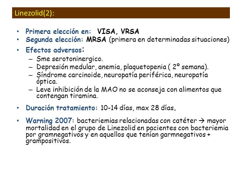 Linezolid(2): Primera elección en: VISA, VRSA