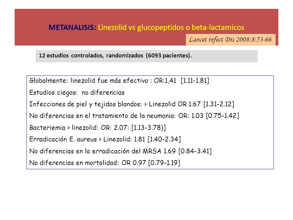 METANALISIS: Linezolid vs glucopeptidos o beta-lactamicos