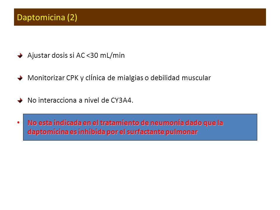 Daptomicina (2) Ajustar dosis si AC <30 mL/min