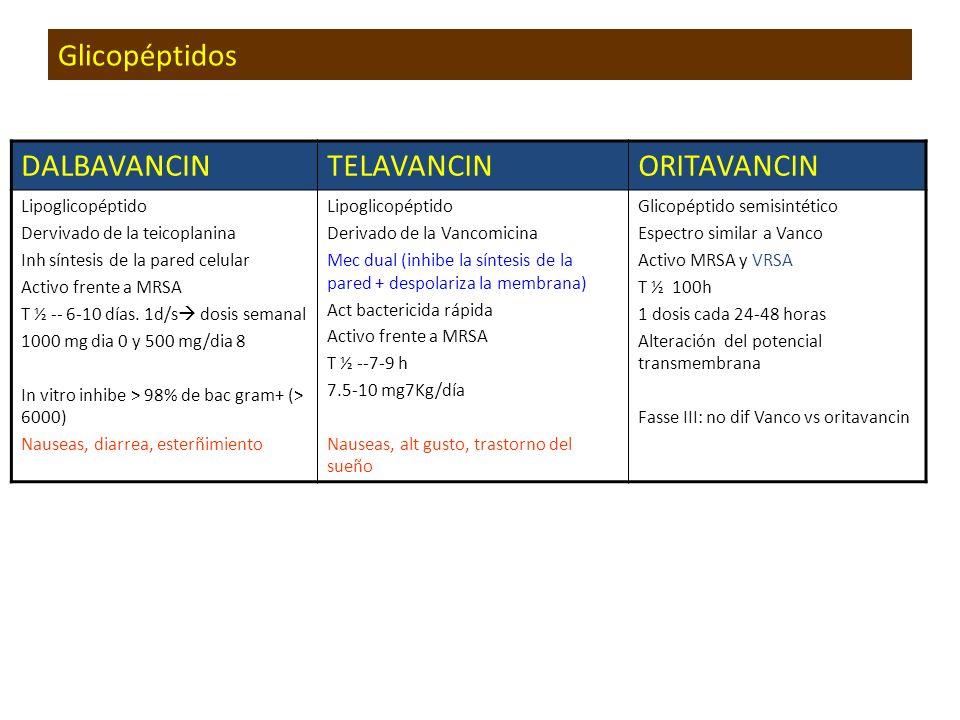 Glicopéptidos DALBAVANCIN TELAVANCIN ORITAVANCIN Lipoglicopéptido