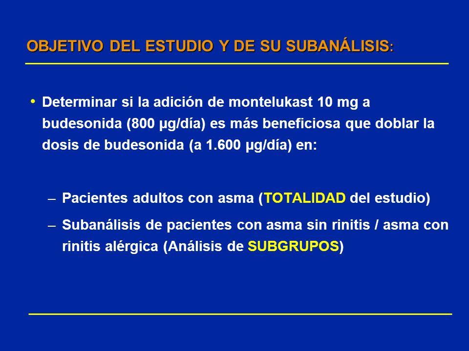OBJETIVO DEL ESTUDIO Y DE SU SUBANÁLISIS:
