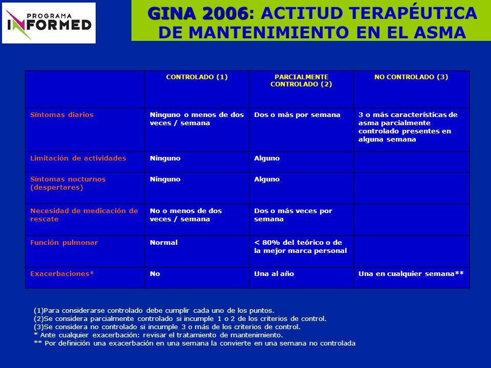 GINA 2006: ACTITUD TERAPÉUTICA DE MANTENIMIENTO EN EL ASMA
