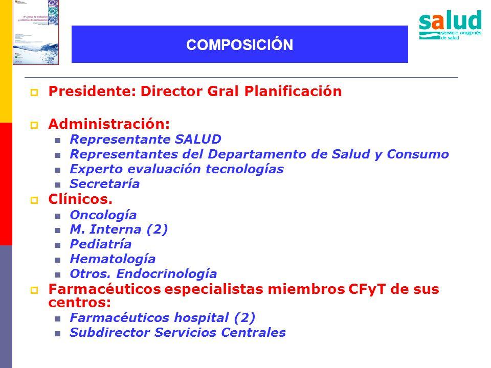 COMPOSICIÓN Presidente: Director Gral Planificación Administración: