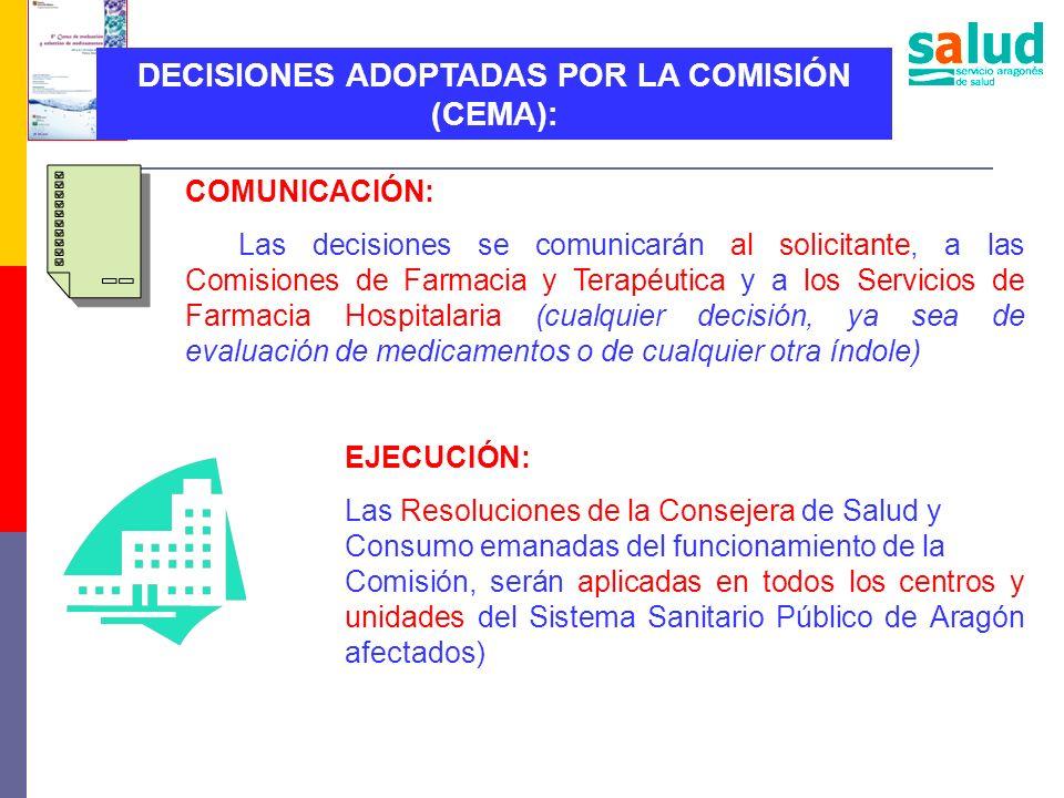 DECISIONES ADOPTADAS POR LA COMISIÓN (CEMA):