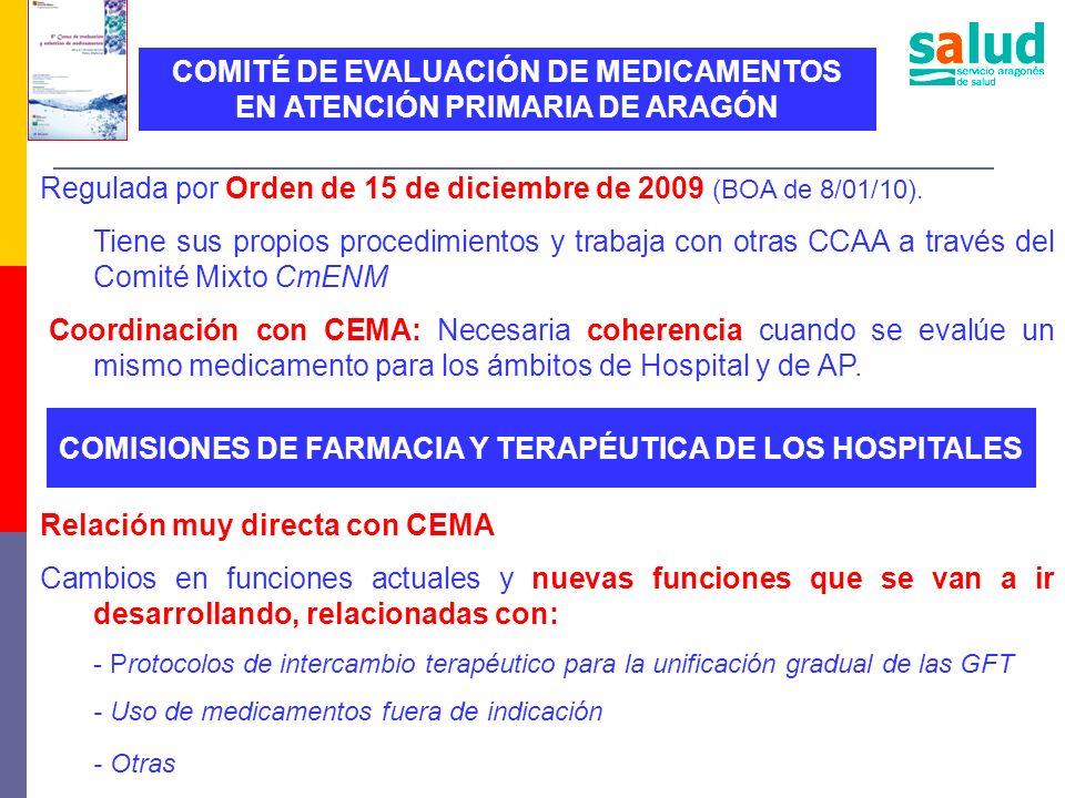 COMITÉ DE EVALUACIÓN DE MEDICAMENTOS EN ATENCIÓN PRIMARIA DE ARAGÓN