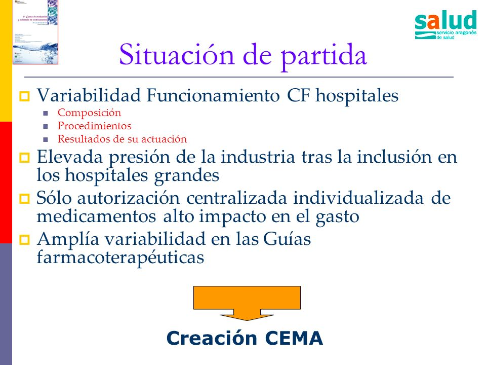 Situación de partida Variabilidad Funcionamiento CF hospitales