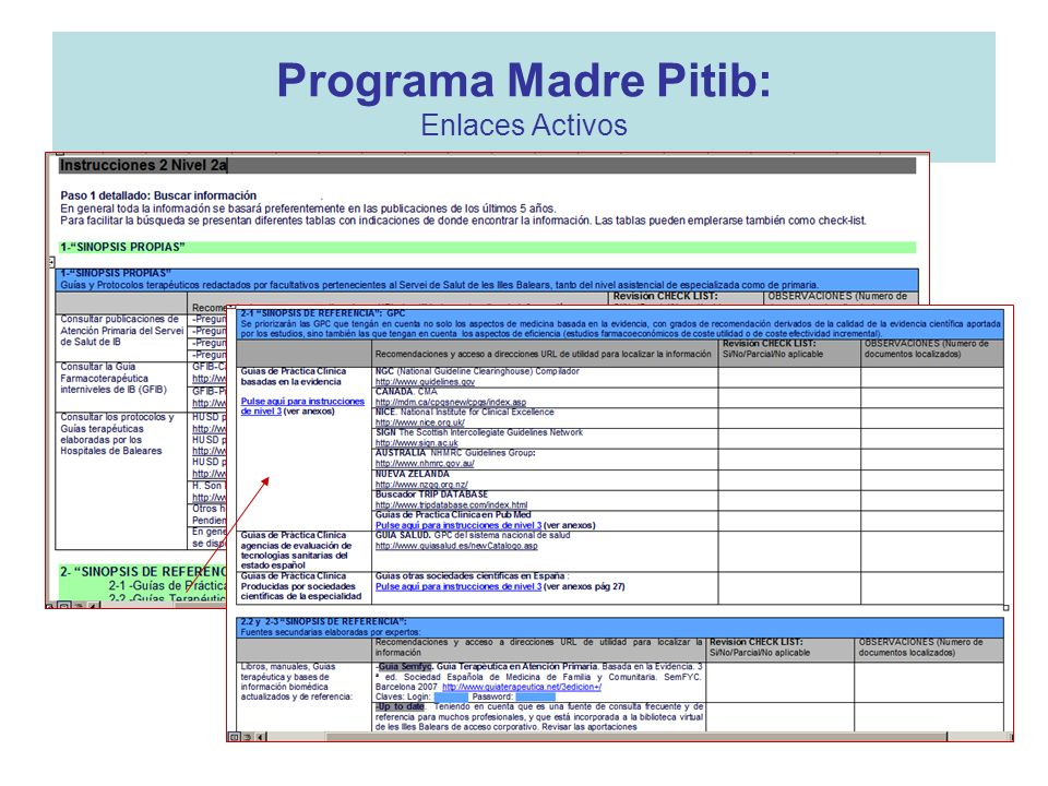 Programa Madre Pitib: Enlaces Activos