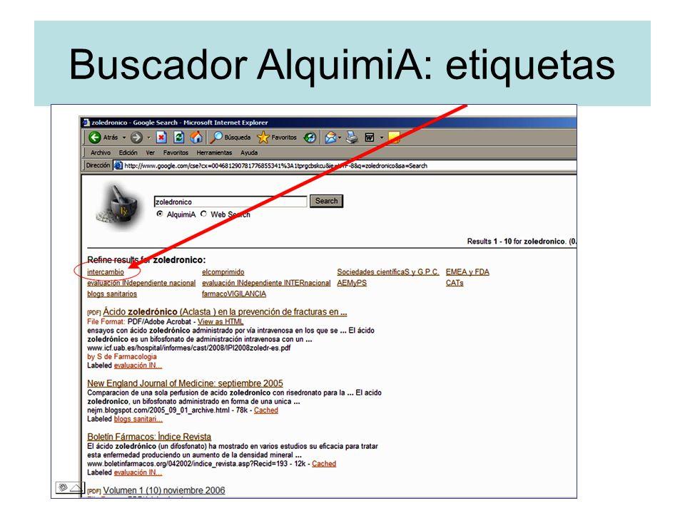Buscador AlquimiA: etiquetas