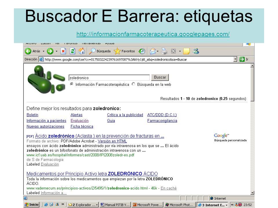 Buscador E Barrera: etiquetas. http://informacionfarmacoterapeutica