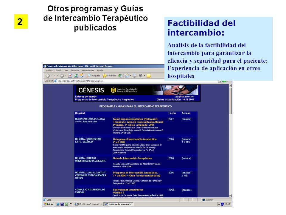 Otros programas y Guías de Intercambio Terapéutico publicados