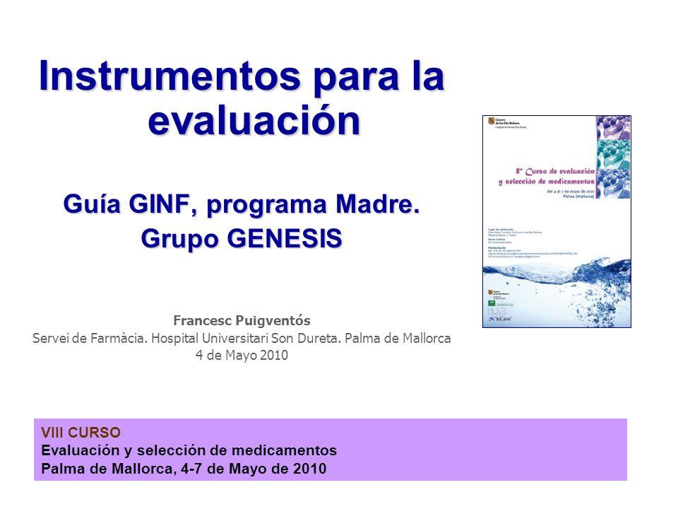 Instrumentos para la evaluación Guía GINF, programa Madre.