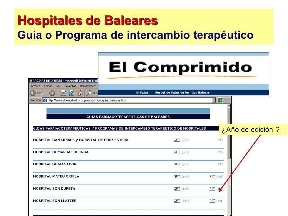 Hospitales de Baleares Guía o Programa de intercambio terapéutico