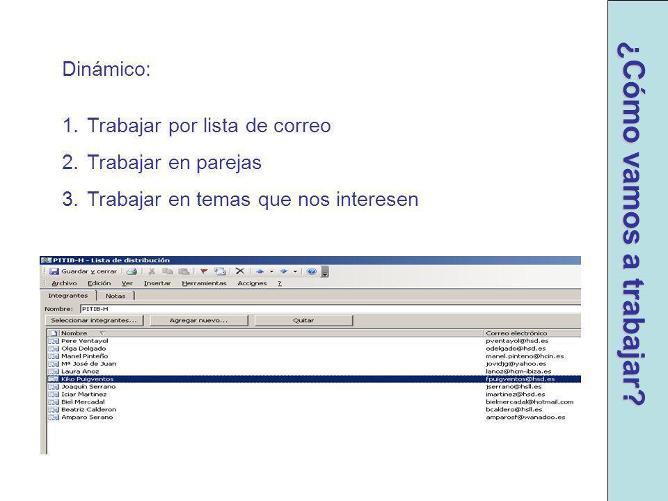 ¿Cómo vamos a trabajar Dinámico: Trabajar por lista de correo