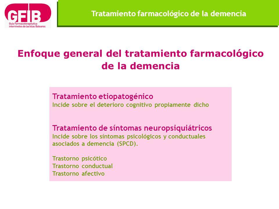 Enfoque general del tratamiento farmacológico de la demencia