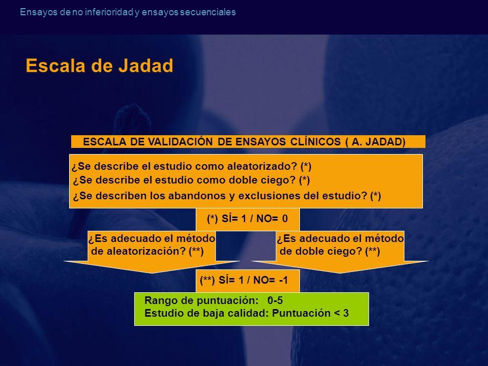 Escala de Jadad ESCALA DE VALIDACIÓN DE ENSAYOS CLÍNICOS ( A. JADAD)