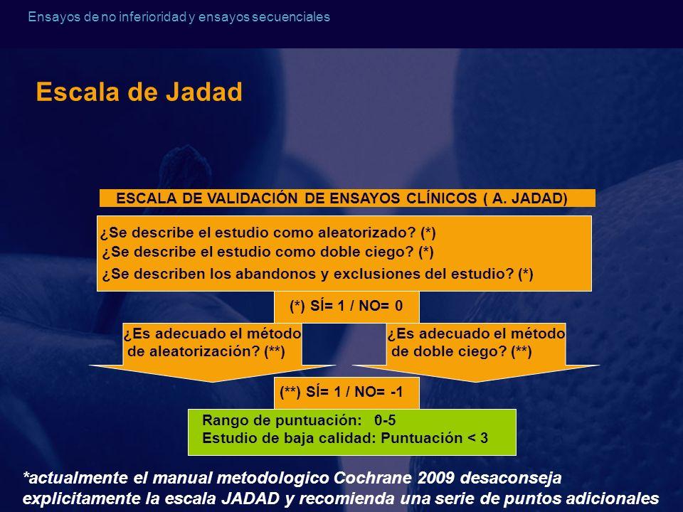Escala de Jadad ESCALA DE VALIDACIÓN DE ENSAYOS CLÍNICOS ( A. JADAD) ¿Se describe el estudio como aleatorizado (*)