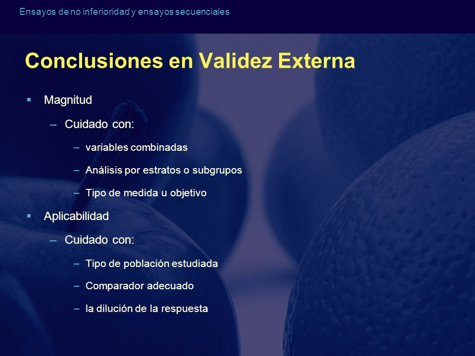 Conclusiones en Validez Externa