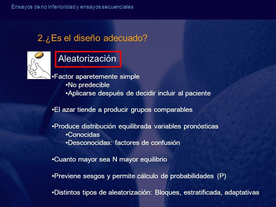 2.¿Es el diseño adecuado Aleatorización Factor aparetemente simple