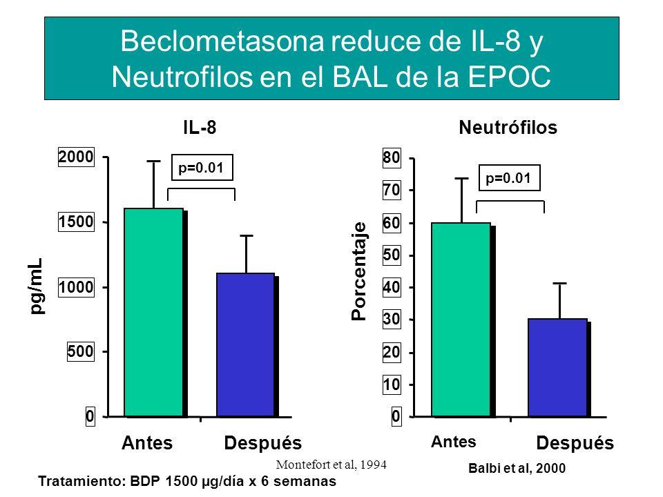 Beclometasona reduce de IL-8 y Neutrofilos en el BAL de la EPOC