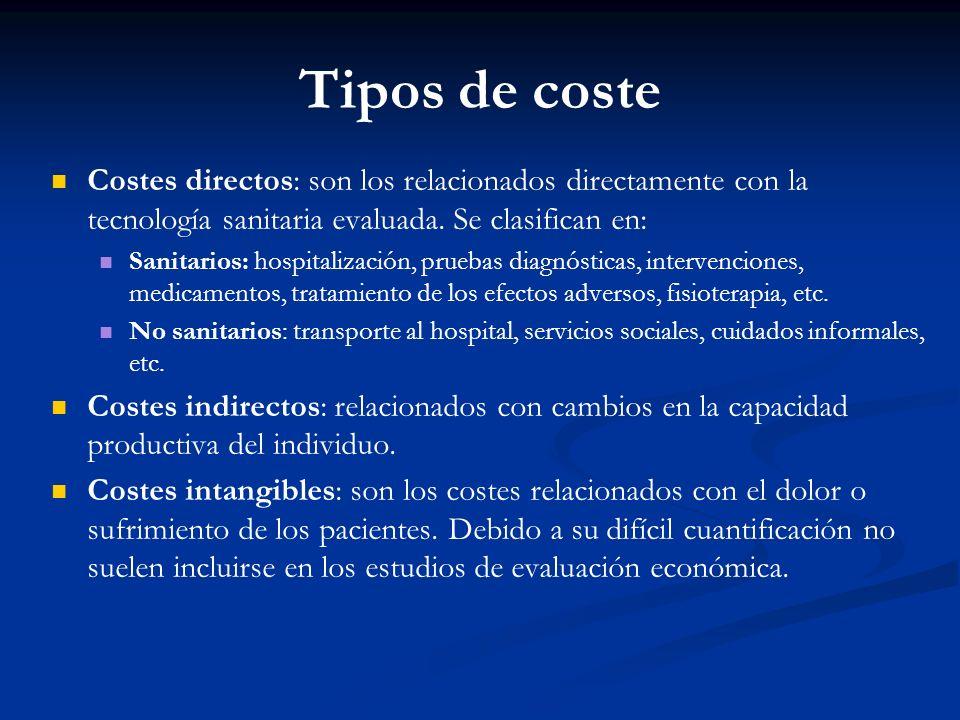 Tipos de coste Costes directos: son los relacionados directamente con la tecnología sanitaria evaluada. Se clasifican en: