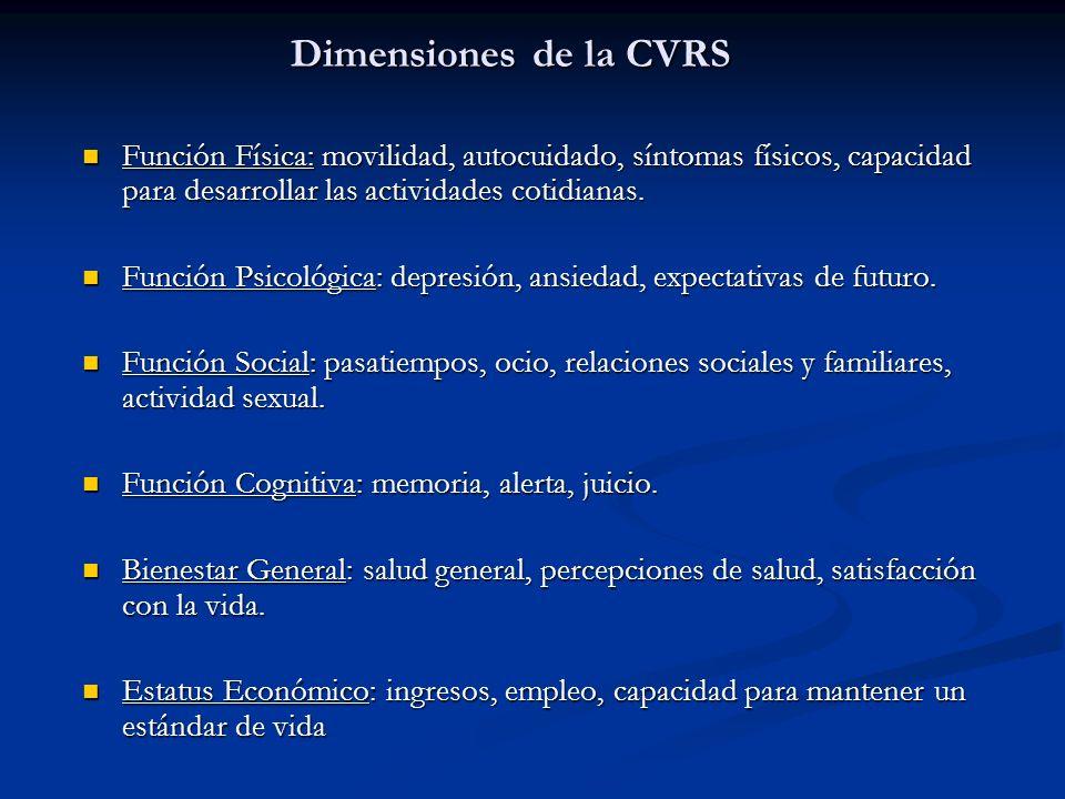 Dimensiones de la CVRS Función Física: movilidad, autocuidado, síntomas físicos, capacidad para desarrollar las actividades cotidianas.